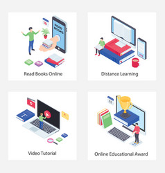 Distance learning isometric icons pack vector