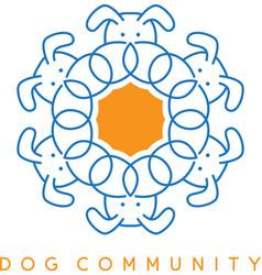 dog head round pattern design template vector image