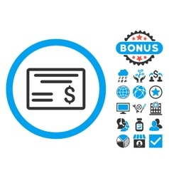 Dollar Cheque Flat Icon with Bonus vector image