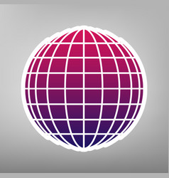 earth globe sign purple gradient icon on vector image
