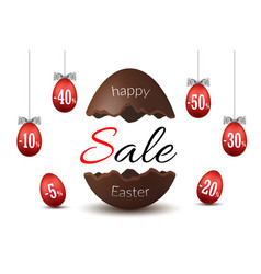 easter egg text sale chocolate broken happy vector image