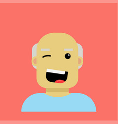 elderly happy man in cartoon style is winking vector image