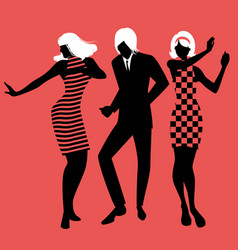 Elegant silhouettes of people wearing clothes vector