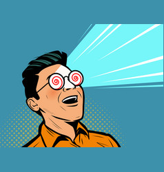 Enthusiastic man with glasses under hypnosis vector