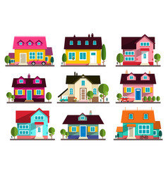 Family house flat design buildings icons set vector