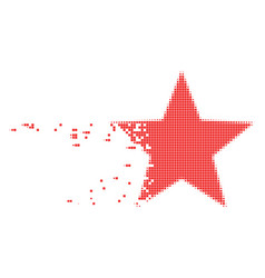 Five-pointed star dissolved pixel icon vector