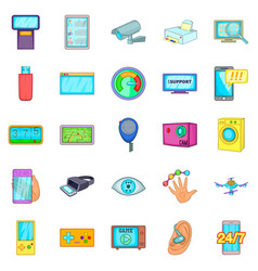 Fix the electronics icons set cartoon style vector