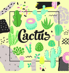 Floral design with cactuses succulents background vector