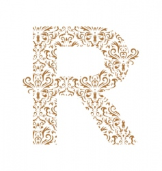 Floral letter r ornament font vector