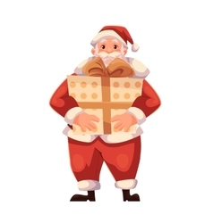 Full length portrait of Santa holding a big gift vector