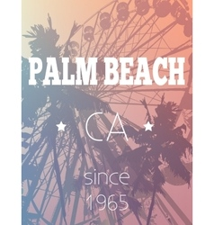 Fun fair and palm trees print in vector