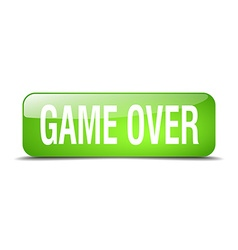 Game over green square 3d realistic isolated web vector
