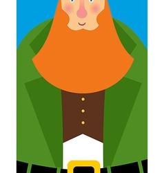 Good Leprechaun in green frock coat Big Red Beard vector image