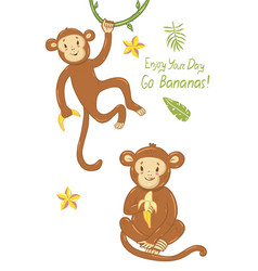 Greeting card with monkeys with funny inscription vector
