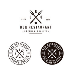 Grill barbeque with crossed fork logo design vector