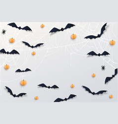 halloween decor with black bats dark scary spider vector image