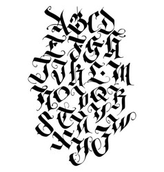 handwritten calligraphy alphabet set vector image