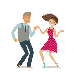 Happy couple dancing dance twist cartoon vector
