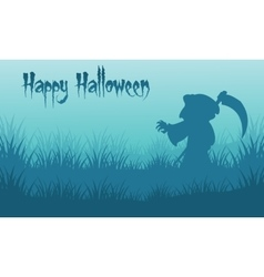 Happy Halloween warlock backgrounds silhouette vector image