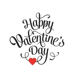 Happy Valentines Day Vintage Card With Lettering vector image
