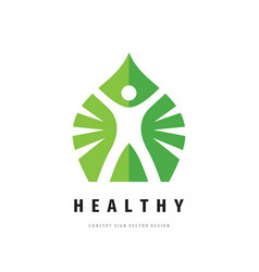 healthy human logo template design healthcare vector image
