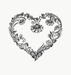 Heart of flowers graphic tatto vector