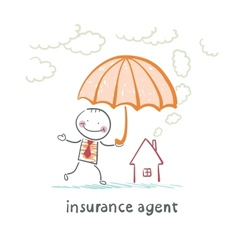 insurance agent is holding an umbrella over the vector image