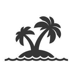 Island with palm trees icon on white background vector