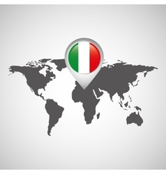 Italy flag pin map design vector