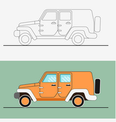 jeep suv line art jeep vector image