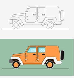 Jeep suv line art vector