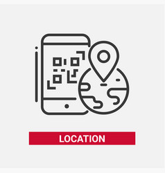 location qr code - line design single isolated vector image