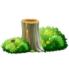 Log and bushes with flowers vector