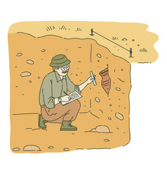 Male archaeologist sitting in pit and researching vector