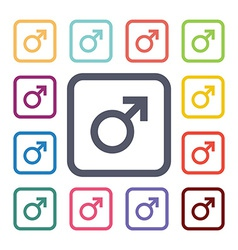 male flat icons set vector image