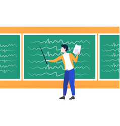 man lecture college teacher holding pointer and vector image