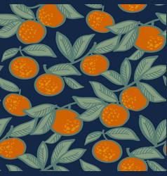 Mandarin fruit on night blue background pattern vector