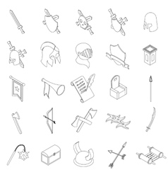 Medieval knights icons set isometric 3d style vector