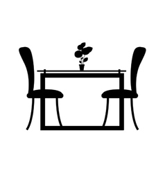 monochrome silhouette Dining room with two chairs vector image