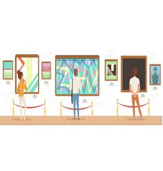 Museum visitors standing in modern art gallery in vector