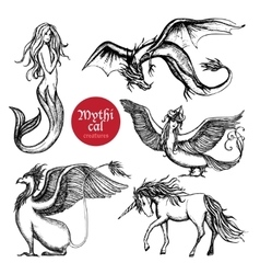 Mythical Creatures Hand Drawn Sketch Set vector