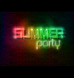 neon summer night party tropical party design led vector image