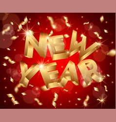 new year abstract 3d background with silver vector image