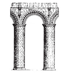 norman arch styles of romanesque arch vintage vector image