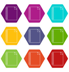 notebook icons set 9 vector image