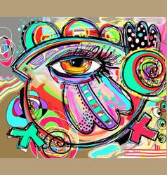 Original abstraction composition of doodle bird vector