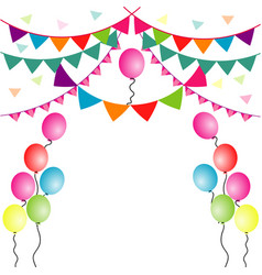 party flag with balloons on white background vector image