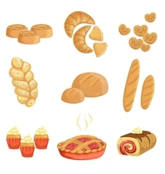 Pastry and bread bakery assortment set of isolated vector