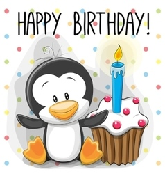 Penguin with cake vector