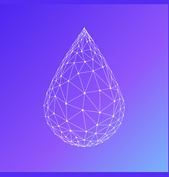 Polygon water drop isolated on gradient background vector